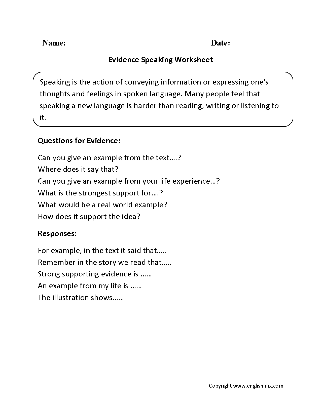 Evidence Speaking Worksheets