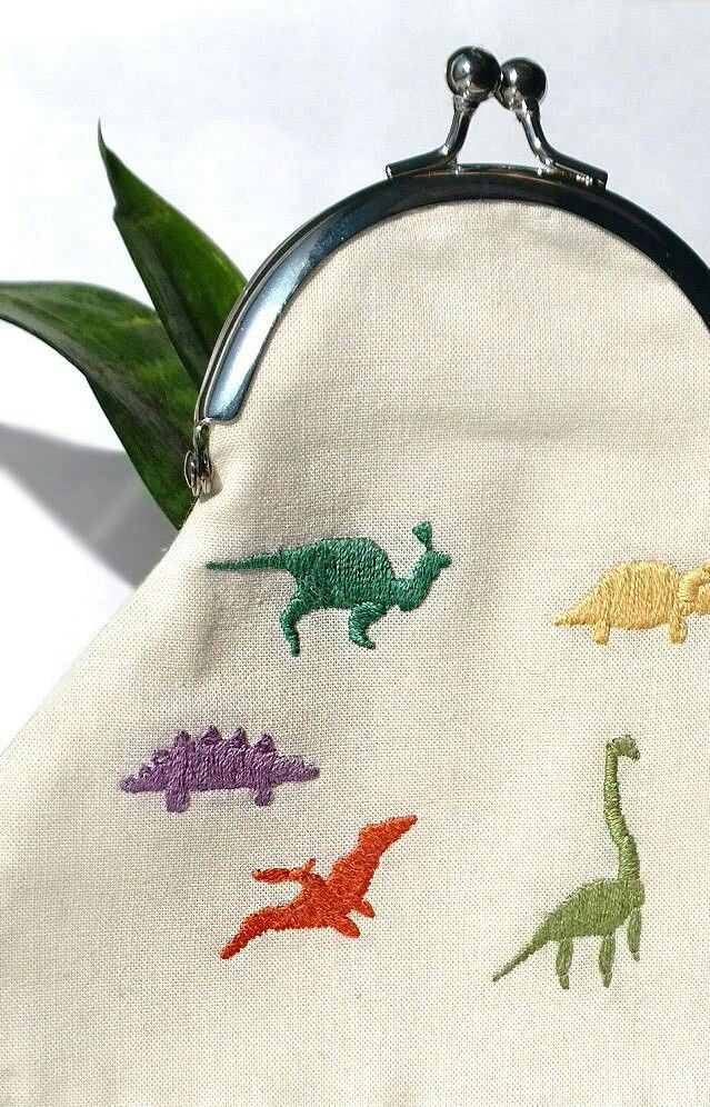 dinosaur embroidered coin purse - #COIN #coins #dinosaur #Embroidered #Purse #dinosaur