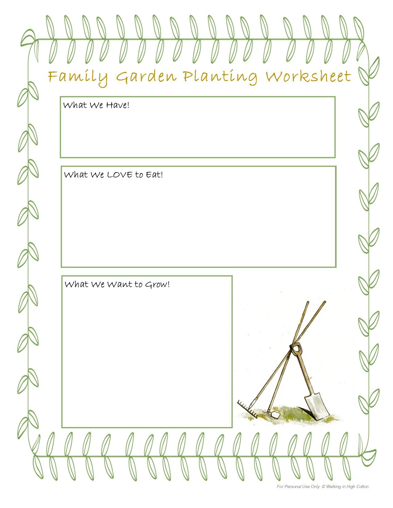 Letting Kids Be Involved In Every Step Of Gardening Walking In High Cotton Family Garden Plants Worksheets Gardening For Kids