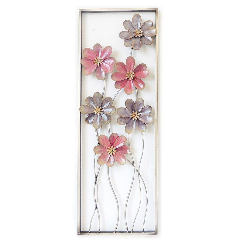 Flower Stem Wall Art Metal Flower Wall Art Pink Wall Art Wall