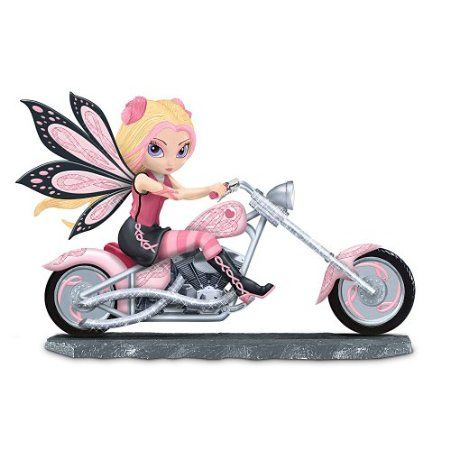 Amazon.com: Breast Cancer Support Fairy And Pink Motorcycle Figurine: On A Roll With Hope by The Hamilton Collection: Furniture & Decor