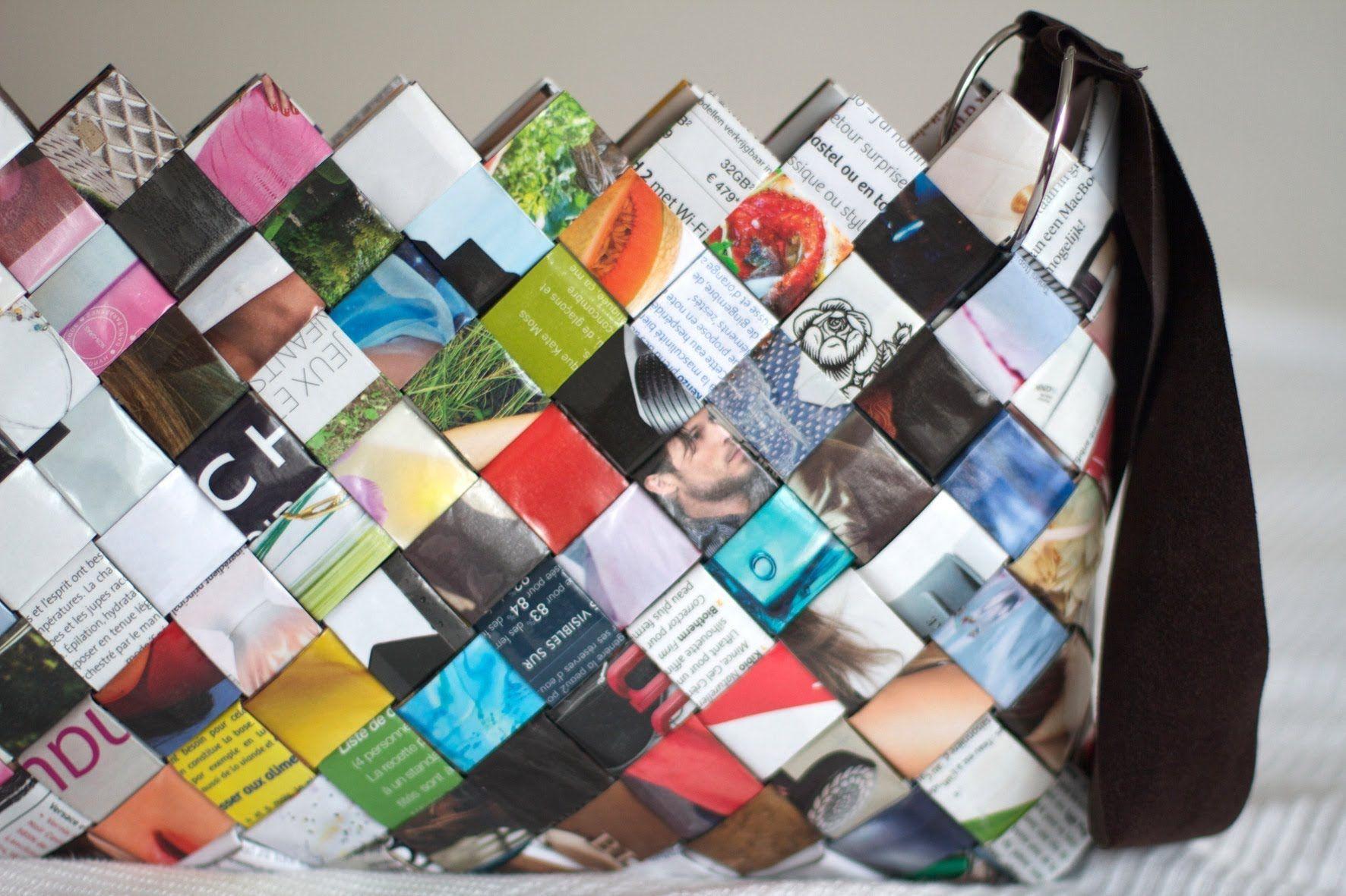 como hacer bolso de papel de revista