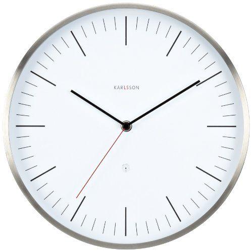 Karlsson Wanduhr karlsson 30 cm wall clock neverlateagain station steel white