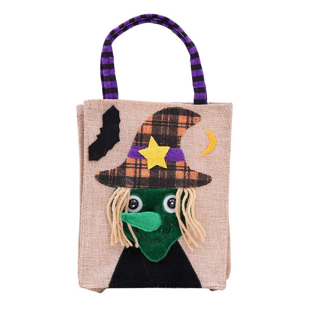 elecfan 4 Pack Halloween Candy Bags Linen Creative Cartoon