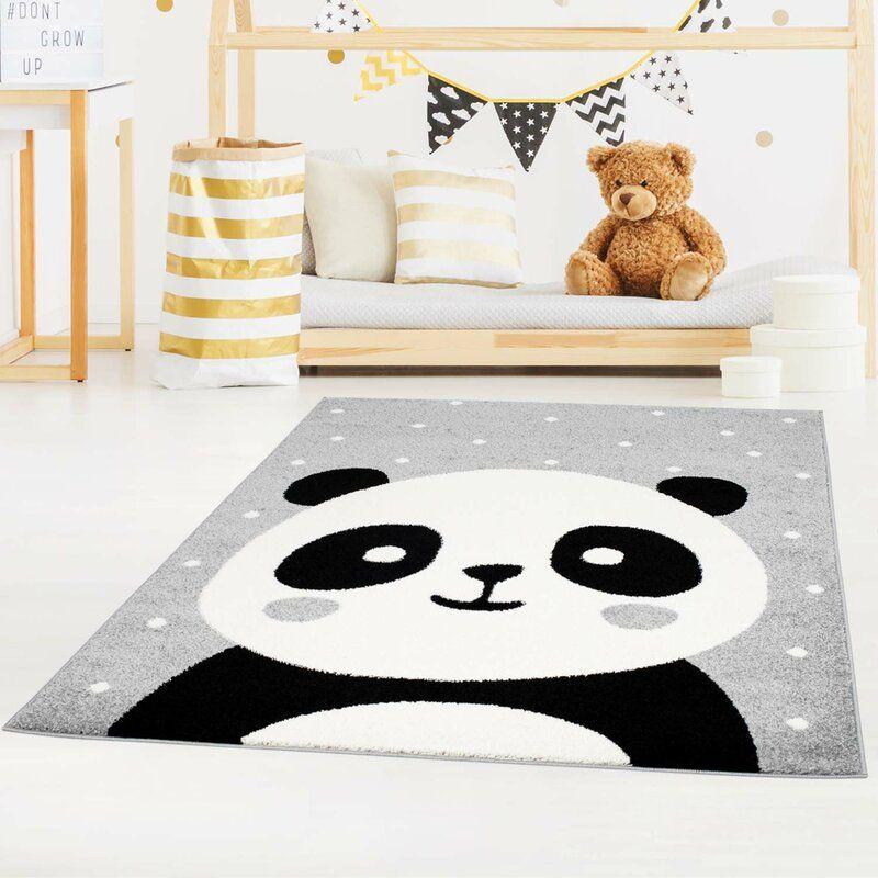 FlachgewebeTeppich Ambleside mit PandaBär in Grau in