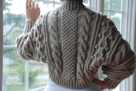 Hand Knit Women Chunky Cable Aran Shrug Bolero Sweater Cardigan Top ...