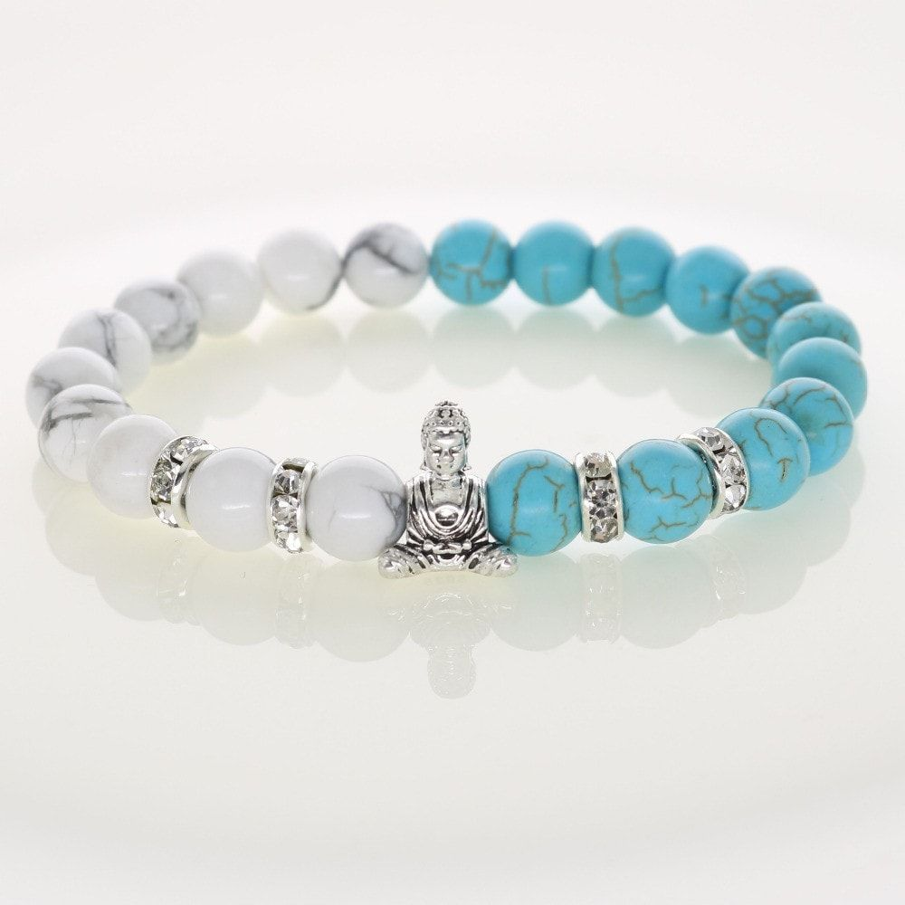 Pearl white turquoise buddha bracelet products pinterest products