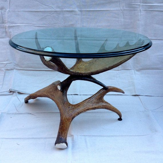 Moose Antler Coffee Table W Glass Top By Uniquealwaysllc On Etsy Antler Tables