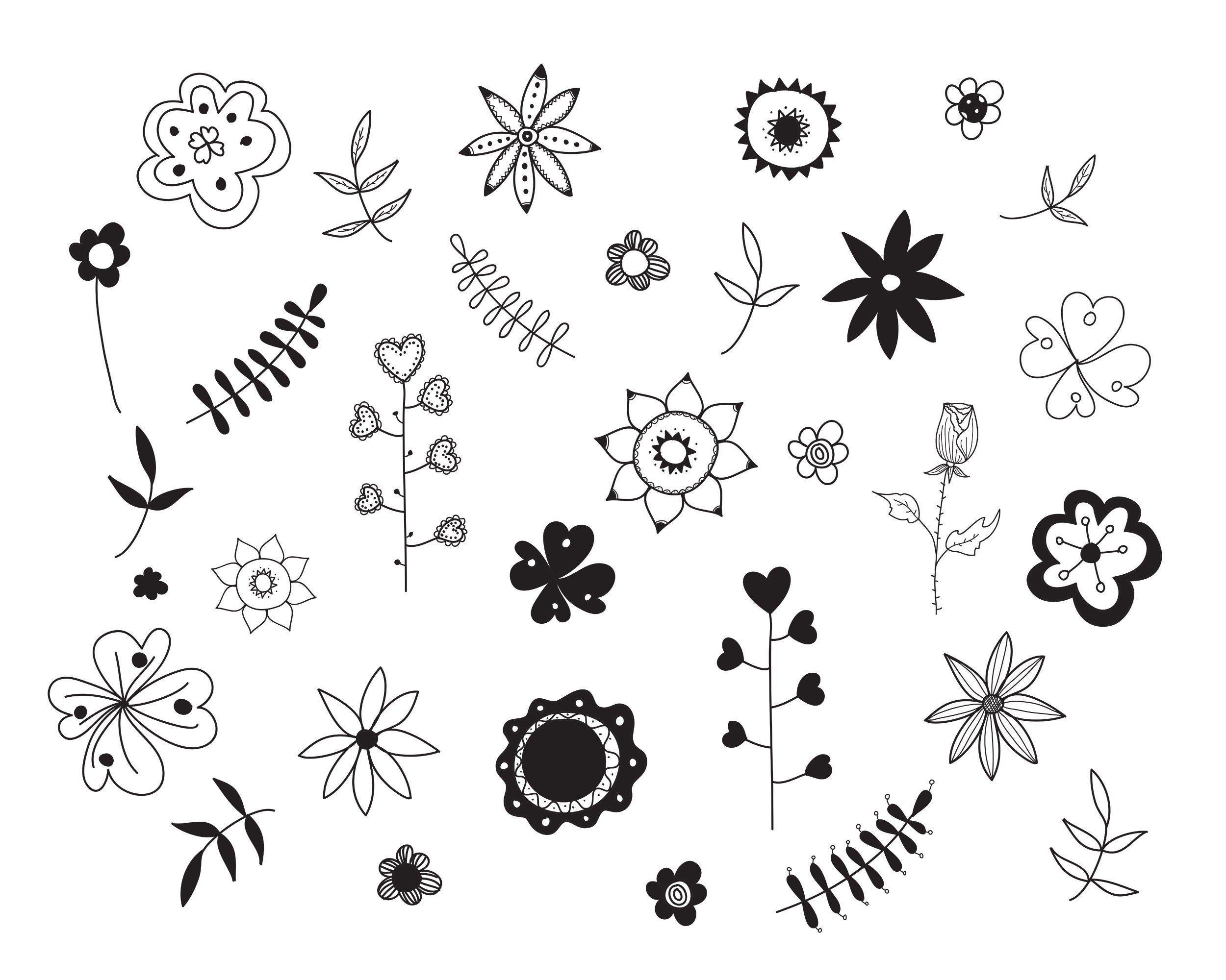 Floral Doodle Svg And Png Flower Doodle For Small Commercial Etsy Flower Doodles Floral Doodle Hand Drawn Flowers