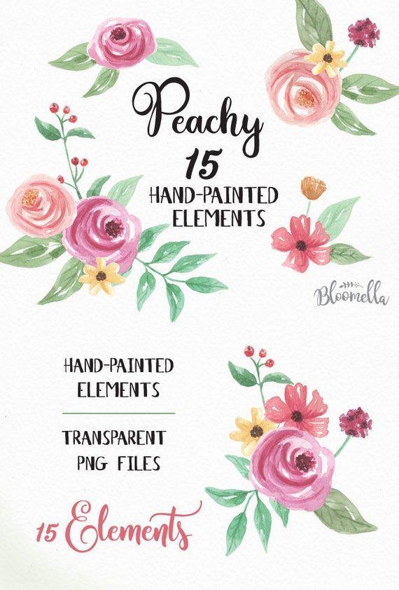 15 Aquarell Clipart Elemente – hübsche rosa Blumen handgemalt INSTANT DOWNLOAD Frühling Sommer Pfirsich Aquarell Blätter PNGs DIY Digital   – Products