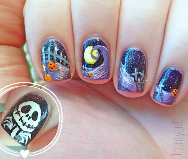 The Nightmare Before Christmas Nails Nails Pinterest Makeup