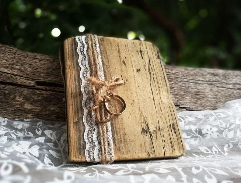 Ringkissen Alternative Holz Vintage Hochzeit Boho Bohemian