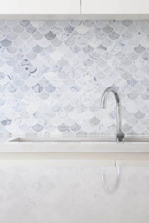 Stacey Kouros Desire To Inspire Desiretoinspire Net Mermaid Tile Fish Scale Tile Kitchen Splashback