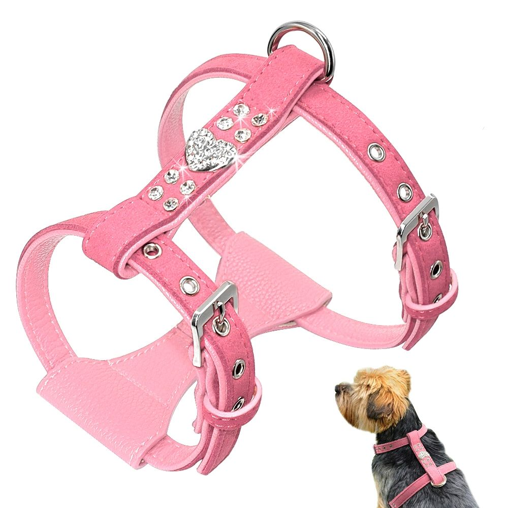 Rhinestone Decorated Harness Dog Harness Padded Dog Harness