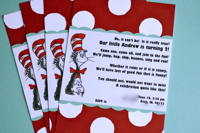 andrew's second birthday party  birthday party invitations cats, custom dr seuss birthday party invitations, dr seuss 1st birthday party invitations, dr seuss birthday invitation ideas