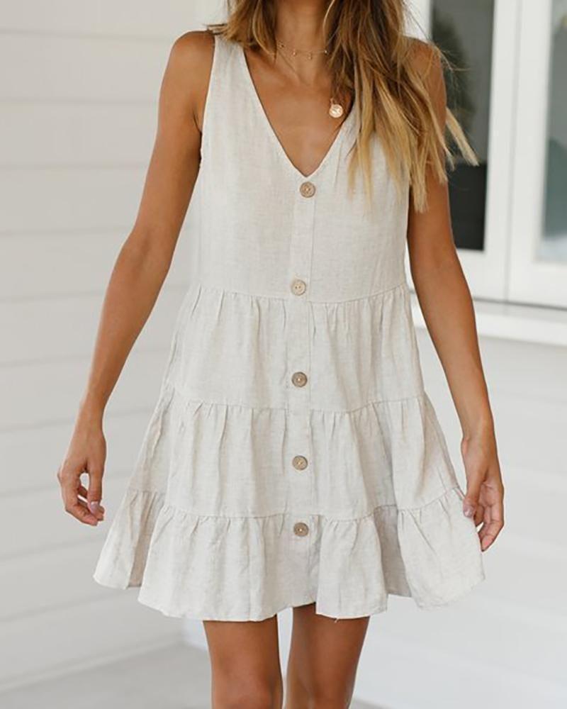multi-layer stitching linen cool dress – ebuytide skater