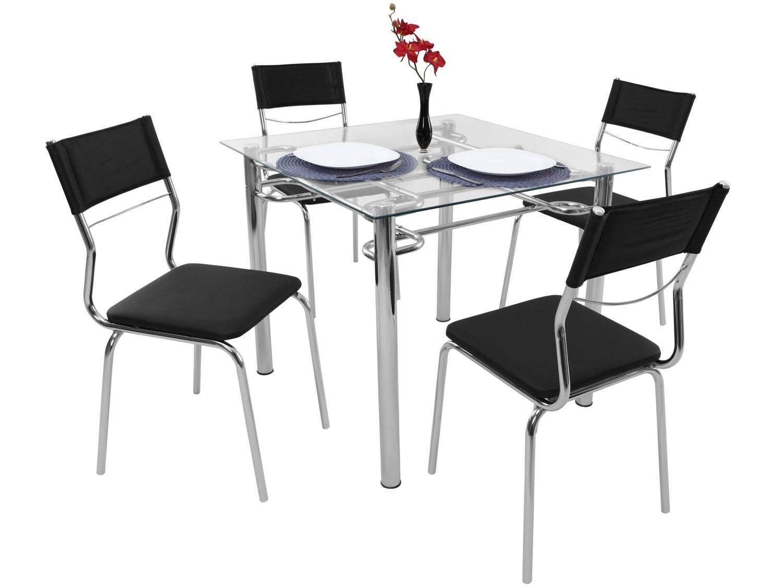 Conjunto De Mesa Ao Carbono Com 4 Cadeiras Estofadas