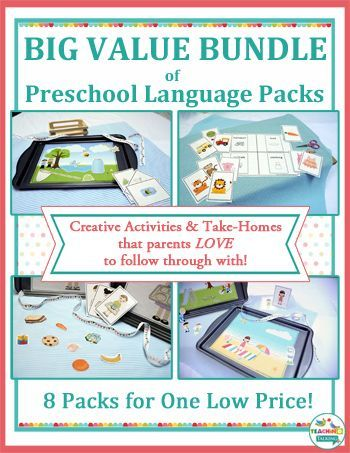 Try this HUGE Bundle of Preschool Language Activities for Speech & Language Therapy. Teach early language concepts such as pronouns, prepositions, verbs, plurals & more!
