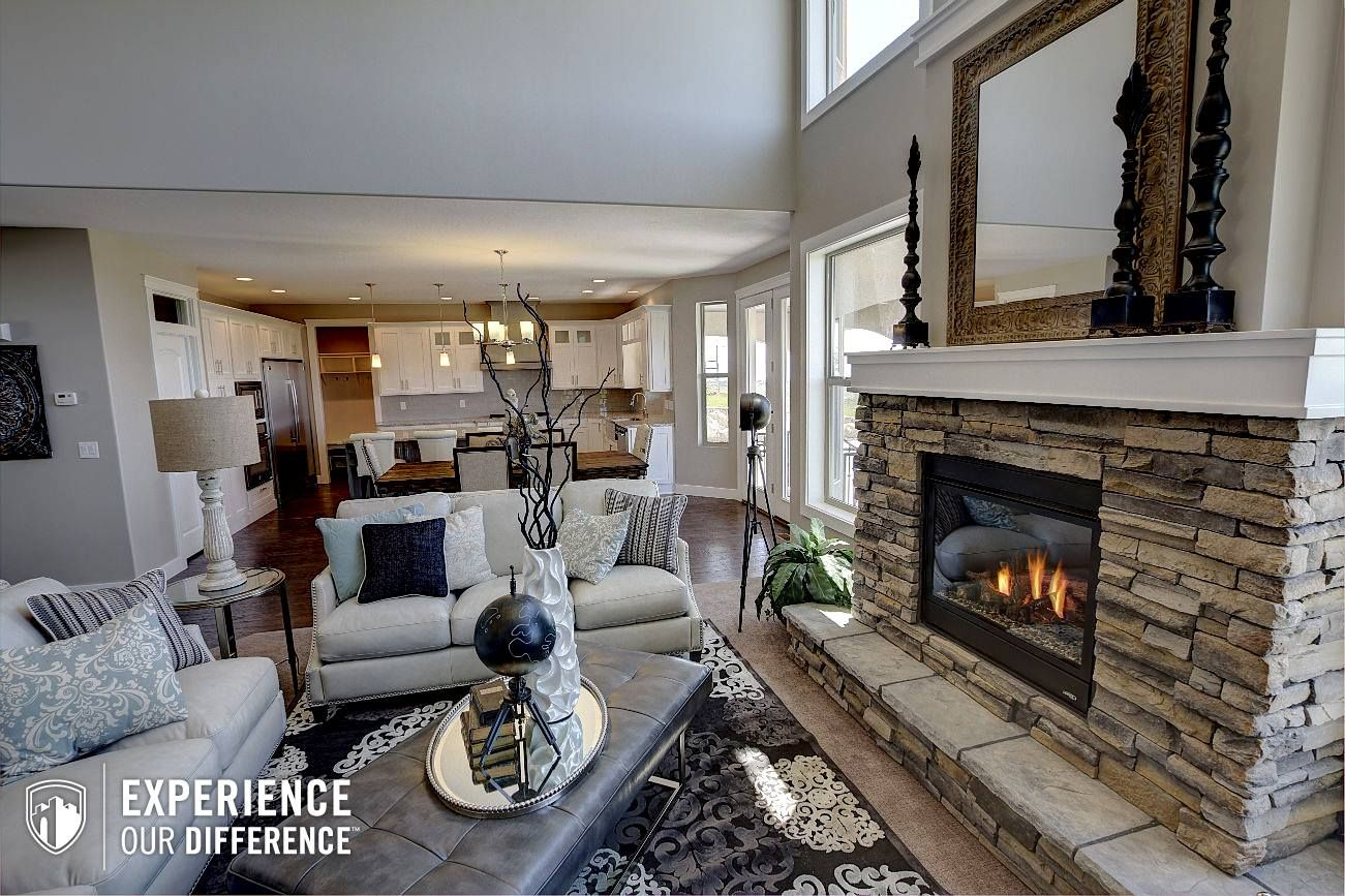Best Fire Place And Rug In A Castle Creek Home Wall Color Is 400 x 300
