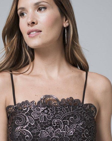 25384d120bb Women s Strapless Metallic Lace Sheath Dress by White House Black Market