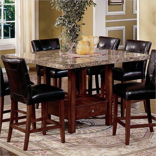 5 Piece Kitchen Dining Set Square Marble Top Counter Height Table And 4 Chairs Dining Table Marble Marble Top Dining Table Top Kitchen Table