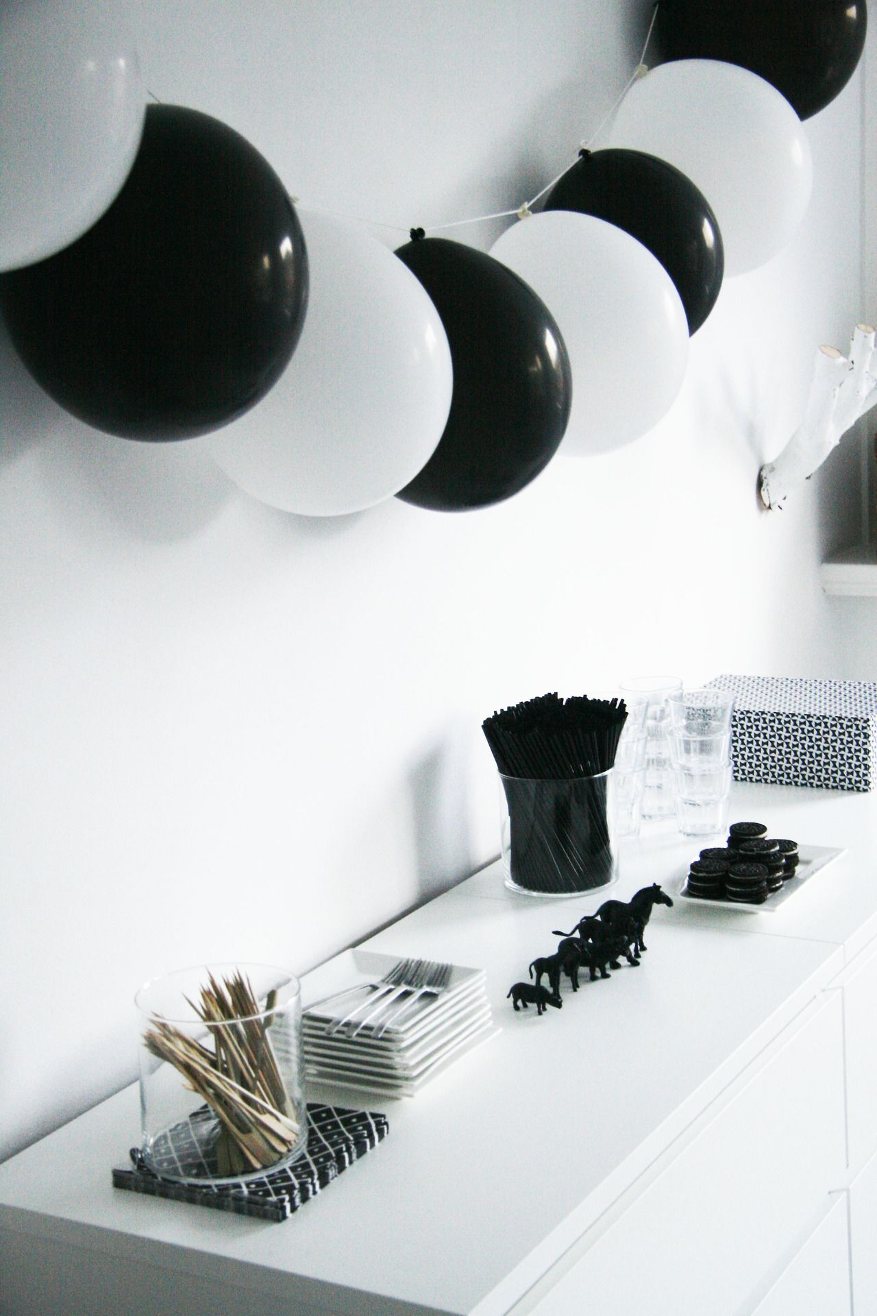 More fun ways with black white balloons for our biodegradable