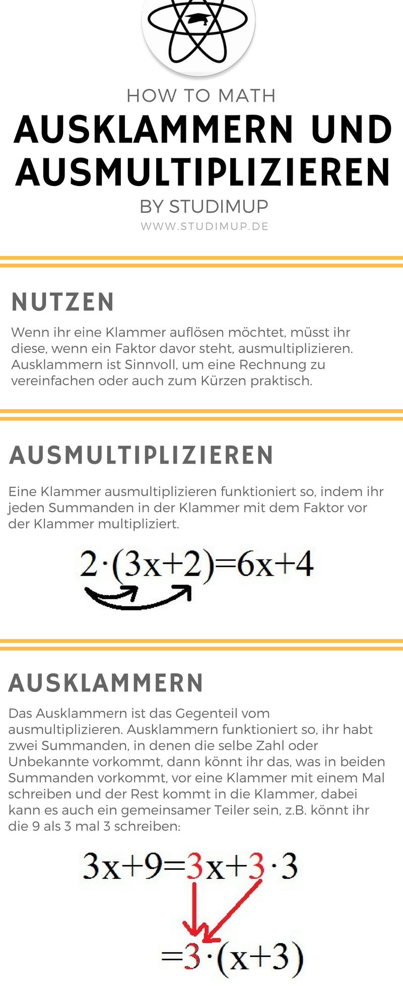 Klammern Richtig Ausklammern Und Ausmultiplizieren Mathe Einfach Erklart Und Leicht Zu Lernen Mathematik Mathematik Lernen Nachhilfe Mathe Ausmultiplizieren