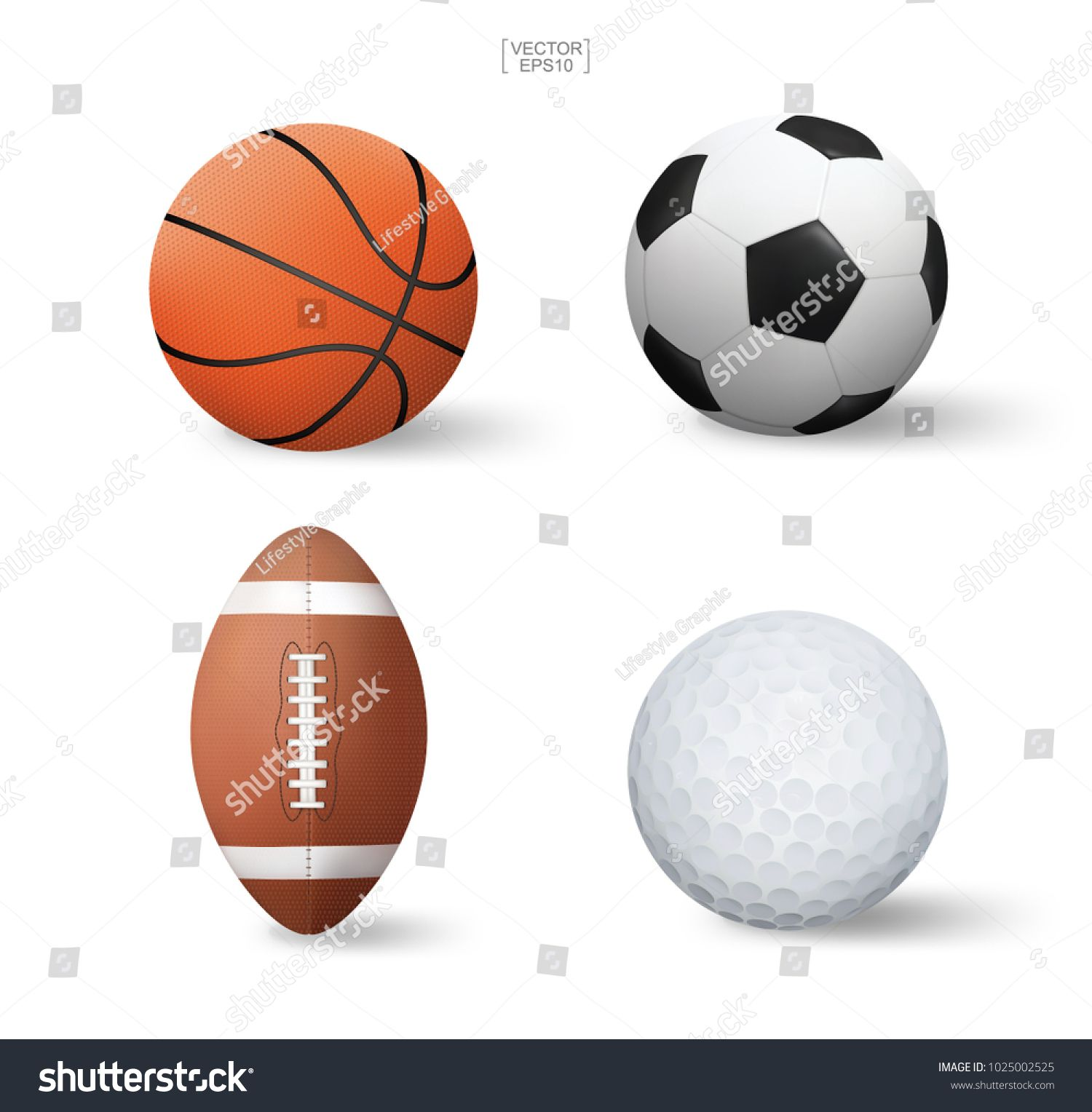 Vector Realistic Sports Ball Set Basketball Soccer Football American Football And Golf Isolated On White Backgro Poster Design Sports Balls Christmas Design