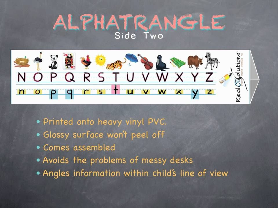 Alphatrangles are the ultimate handwriting teaching tool. Pairing printing cues and letter size information with colorful pictures, the Alphatrangles are the ideal angle for viewing and referencing.