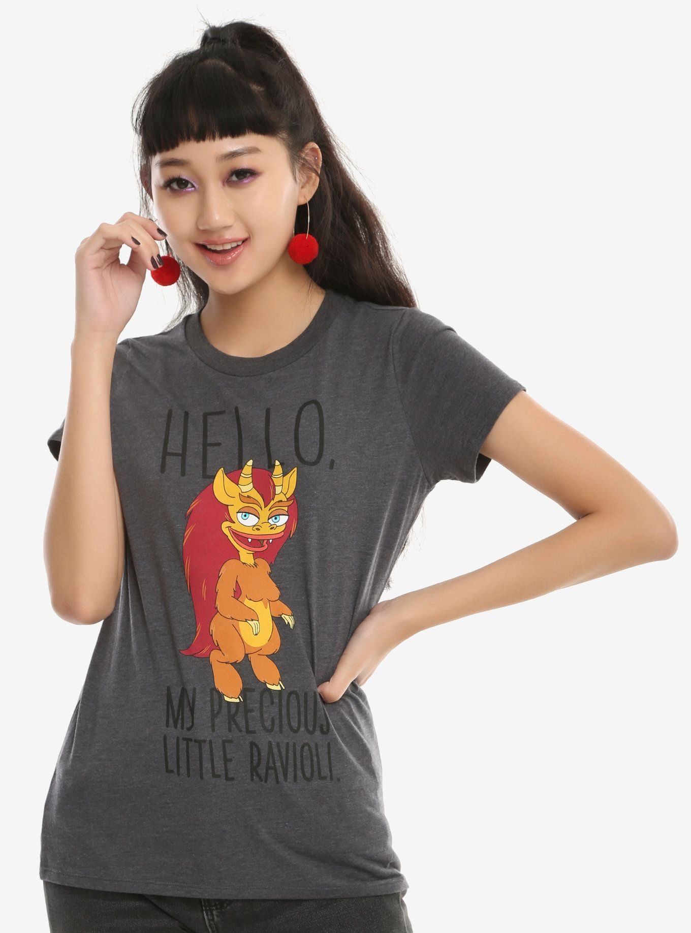 cbb498ab20e This fitted charcoal heather tee from the Netflix animated series Big Mouth  has a large graphic of the powerful