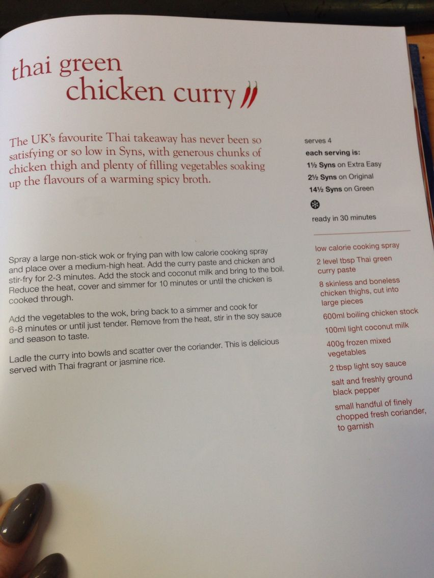 Thai Green Chicken Curry In 2020 Slimming World Cook Books