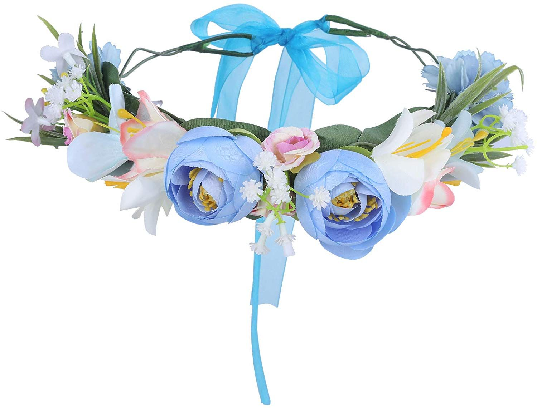HAIMEIKANG Adjustable Flower Crown Headband - Flower Headband Floral Festival Wedding Party Wreath Color red Size One Size #crownheadband