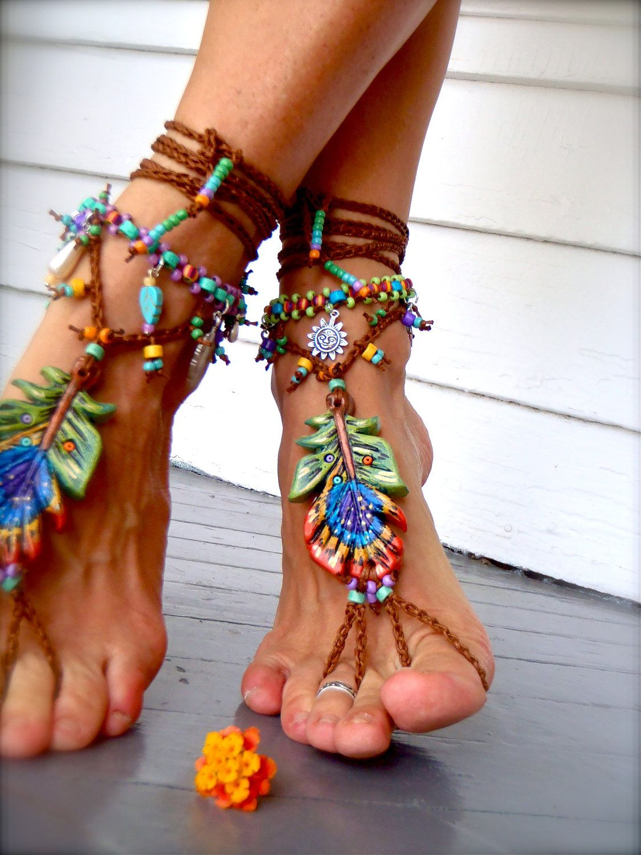 Peacock Barefoot Sandals Feather Beach Wedding