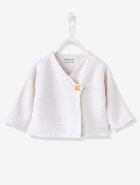 Brassière tricot coton laine Bio Collection Ivoire - vertbaudet enfant e56c43ed6d5