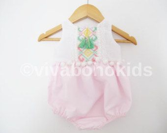 9fefd2134 Pink Mint Baby Girl Romper/ Linen/cotton Boho Chic Sunsuit/ Baby Clothes/  Festive romper/ Photo Props Size: Nb-3years