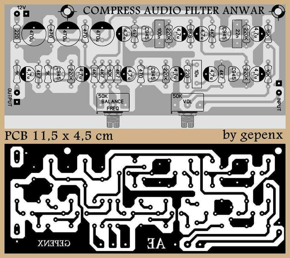 Pcb Compress Audio Filter Pinterest Electronics Circuit Board Diagram Layout