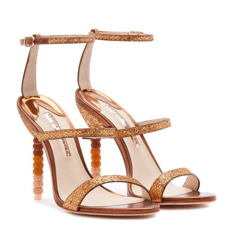 Sparkling Bronze Glitter Sandal Finished With A Matching Ombre Crystal Beaded Heel Leather Shoes Woman Work Shoes Women Women Shoes