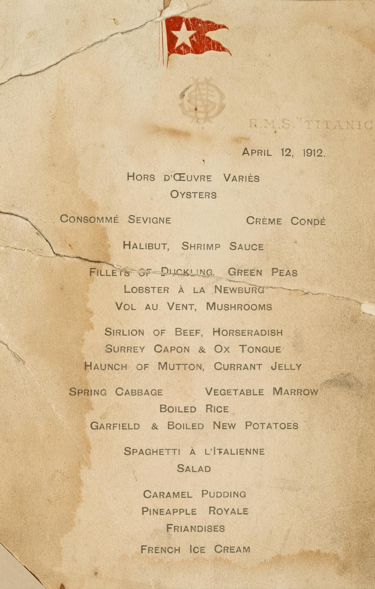 A First Class Menu Card Apparently From Dinner On Friday