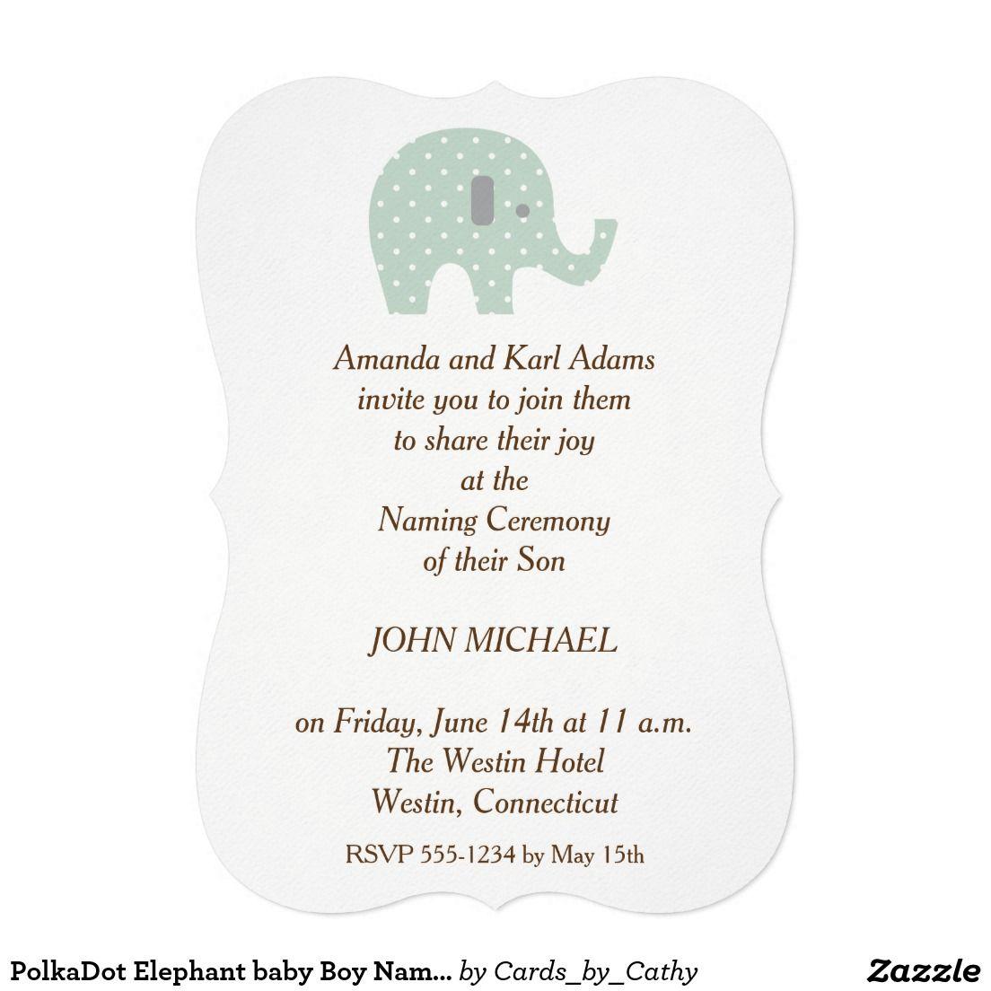PolkaDot Elephant baby Boy Naming Ceremony Invite   Elephant baby ...