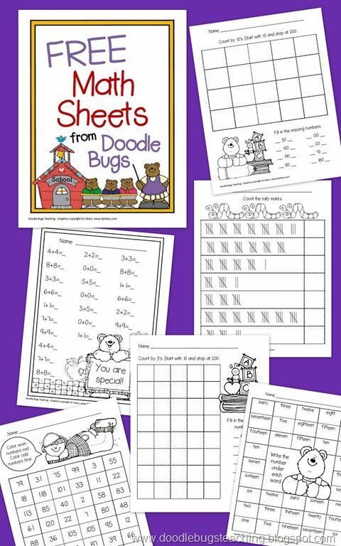 Free Math Sheets from Doodle bugs teaching, 11/10/12 | Fabulous and ...