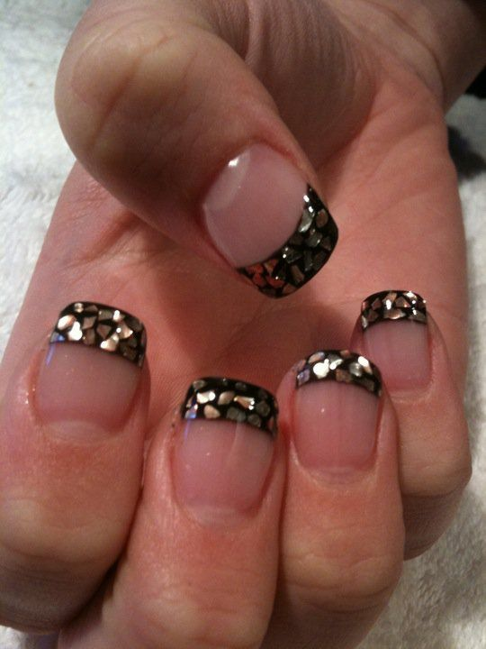 Black glitter tips on nude nails. | Beauty and Style | Pinterest