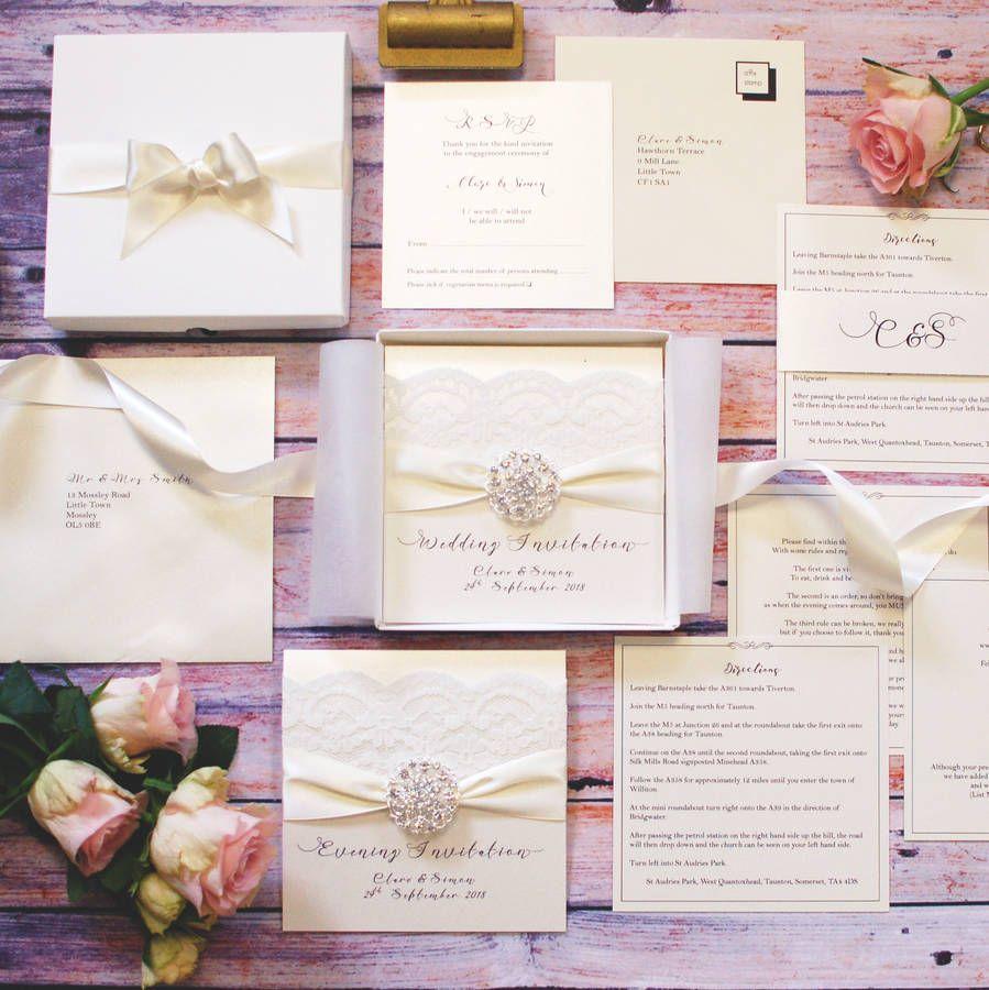 opulence vintage lace luxury wedding invitation vintage