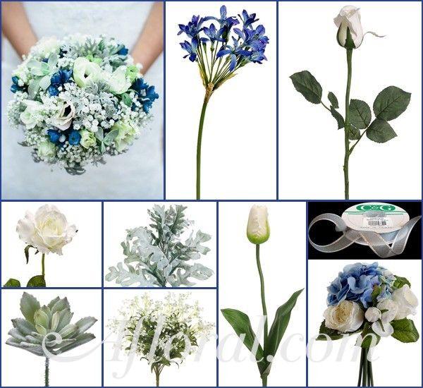 Blue & Silver Winter Wedding Flowers, Winter Wedding Bouquet, Silk Wedding Flowers, DIY Wedding Flowers, Afloral.com http://www.afloral.com/Silk-Flowers-Artificial-Flowers-Fake-Flowers?search=blue