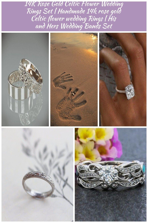 14k Rose Gold Celtic Flower Wedding Rings Set Handmade 14k Etsy