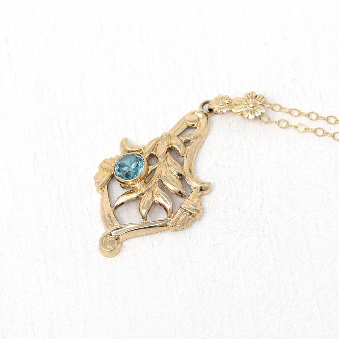 1940s Flower Necklace Retro 10k Gold Leaf Floral Gemstone Etsy Retro Necklaces Gemstone Charms Charm Pendant