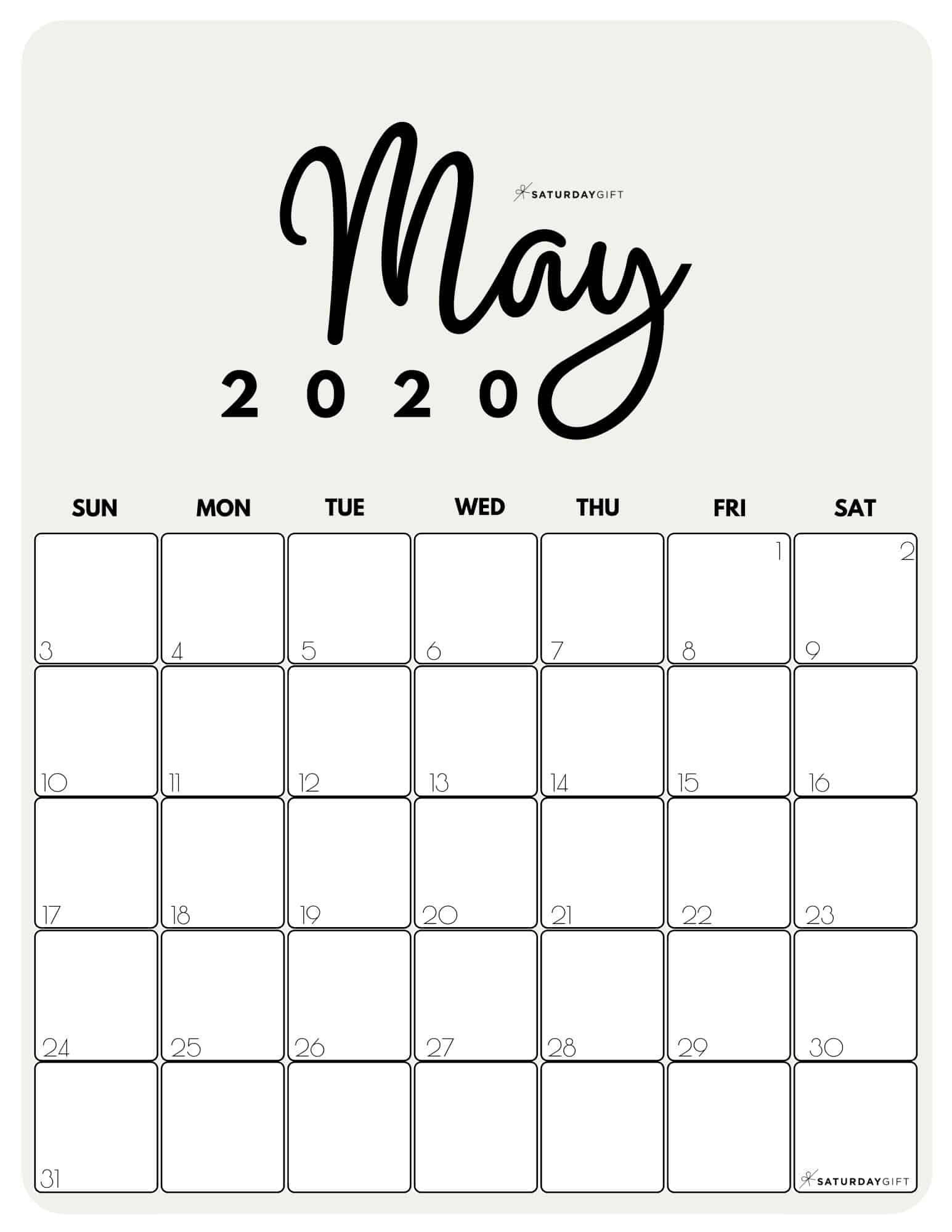 Cute Free Printable May 2021 Calendar Saturdaygift In 2020 Calendar Printables Calendar Design Calendar