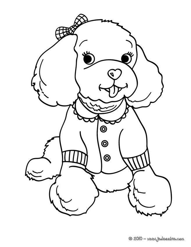 Coloriage Dun Joli Caniche Femelle Avec Un Petit Vêtement Et