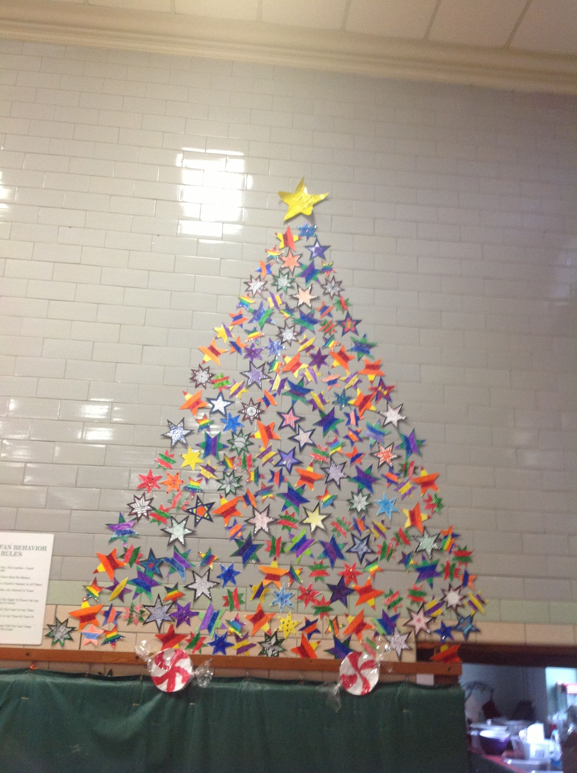Star Christmas Tree Collaborative Art Project Scsart Collaborative Art Projects Collaborative Art Seasons Art