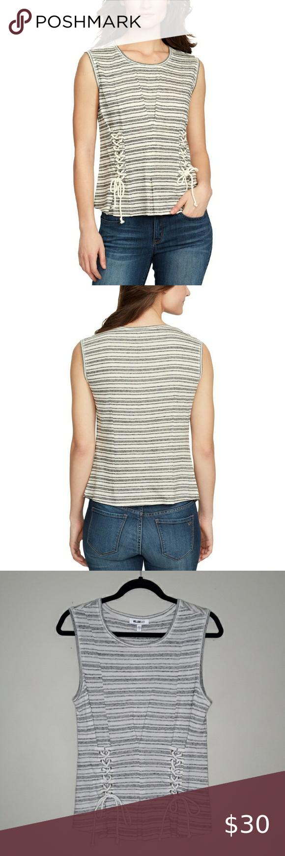 William Rast Tommie Lace Up Sides Sleeveless Tee S Size Small  NWT Cream/gray stripe  Popover Crew neck Lace up side detail Fold over detail Cotton/polyester/viscose  Measurements are approximate   Pit to pit 17
