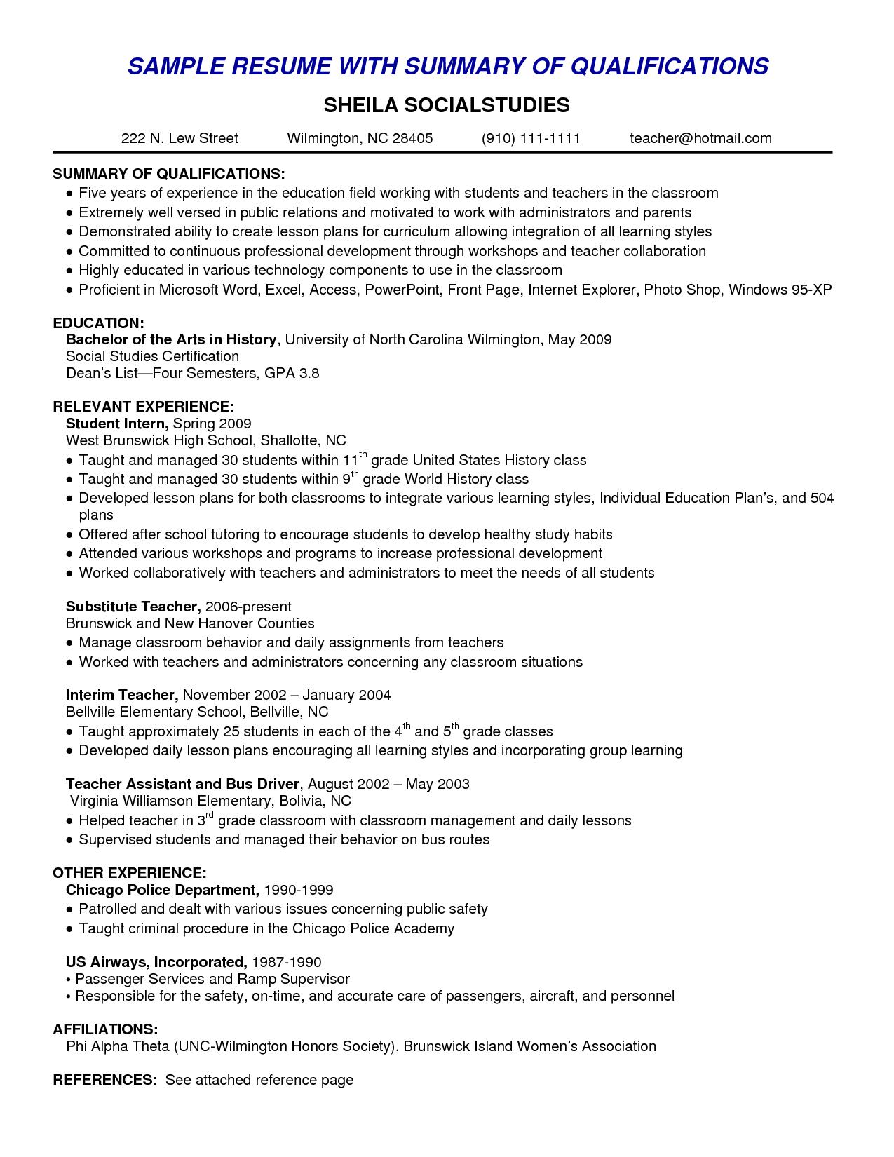 Resume Templates Qualifications , ResumeTemplates Good